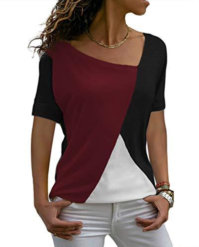 Sarin Mathews Womens Shirts Casual Tee Shirts Short Sleeve Patchwork Color Block Loose Fits Tunic Tops Blouses Black+WineRed 2XL