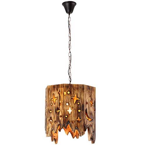 Pantalla de lámpara colgante de madera lámpara industrial vintage de madera rústica suspensión empotrada lámpara de techo cocina loft comedor barra dormitorio lámpara colgante