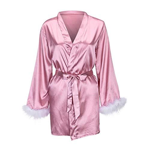 Sonnena Damen Kimono Dessous Set Seidensatin Pajama, Spitze Robe BH und Unterhose Sexy Bikini Halter Lingerie Nachtwäsche V-Ausschnitt Babydoll Reizwäsche 1/2/3/4 Stücke Set