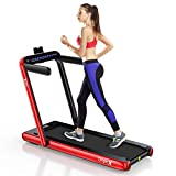 Dripex 2 in 1 Folding Treadmill, 2.25HP Under-Desk Motorized Treadmill w/Bluetooth Speaker, Remote Control, LED Display, Easy Assembly, for Home Office Cardio Fitness, Indoor Walking Running (Red)