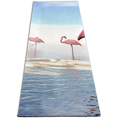 Tappetino da yoga con stampa di fenicotteri rosa sulla spiaggia, spessore 5 mm, per esercizi e fitness, per tutti i tipi di yoga, pilates e allenamenti a pavimento (180 cm x 61 cm x 0,5 cm)