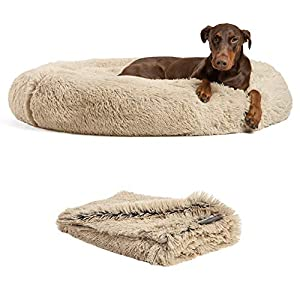 Best Friends by Sheri Bundle Savings – The Original Calming Shag Donut Cuddler Dog Bed in Extra Large 45″ x 45″ and Pet Throw Blanket in 40″ x 50″, Taupe.