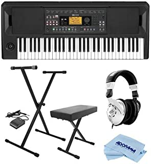 $399 Get Korg EK-50 Entertainment Keyboard - Bundle With On-Stage KPK6520 Keyboard Stand/Bench Pack with Sustain Pedal, Behringer HPS3000 High-Performance Studio Headphones, Microfiber Cloth