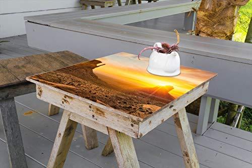 Wallario Aufkleber Selbstklebende Garten-Tisch-Decke - Monument bei Sonnenuntergang in 90 x 90 cm