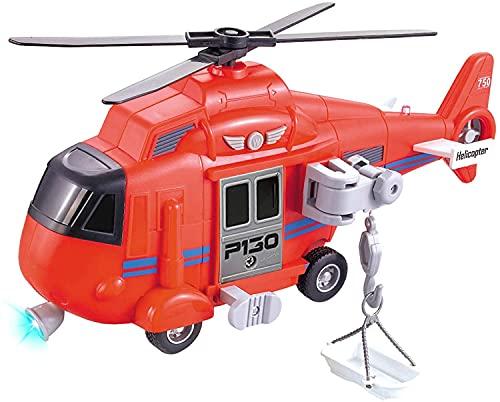 Hubschrauber Flugzeug Spielzeug mit Sound, Drehpropeller, funktionierender Seilwinde und Suchscheinwerfer