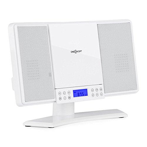 Oneconcept V14 - mini impianto stereo compatto, lettore CD MP3, radio VHF, 20 stazioni, display LCD, AUX, sveglia, orologio, pannello touch, telecomando, montaggio parete, bianco