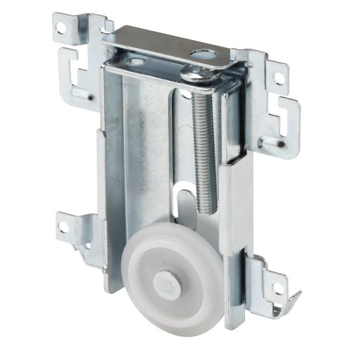 "Prime-Line N 6790 Mirror Door Roller Assembly – Replacement Part for Steel-Framed Mirror Closet Doors, Steel Housing and FLAT Edge Plastic Wheel, 1-7/16"""