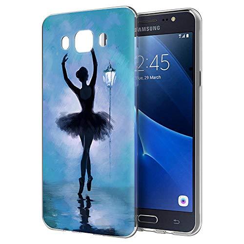 Cover Samsung Galaxy J5 2016, YOEDGE Antiurto Custodia Trasparente con Disegni [Ragazza balletto] Ultra Slim Protective Case Bumper in TPU Silicone per Samsung Galaxy J5 2016 Smartphone(Blu)