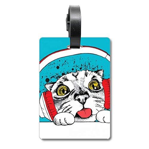 Rode koptelefoon witte kat beschermen dier huisdier liefhebber cruise koffer tas tag Tourister identificatie label