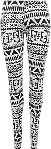 WearAll - Damen Aztekenmuster tribal schwarz weiß Hosen Lange Leggings - Schwarz & Weiß - 36-38