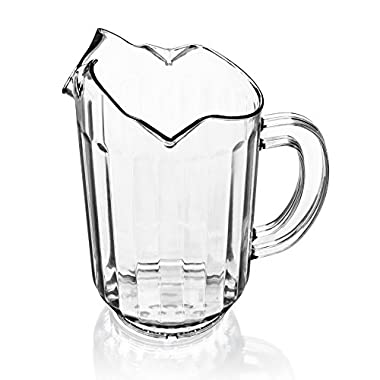 New Star 46229 Polycarbonate Plastic Restaurant Water Pitcher with 3 Spouts, 60-Ounce, Clear