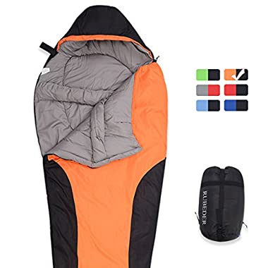 Sleeping Bag – Camping Mummy Lightweight,Waterproof,Comfort With Compression Sack–Tent Sleeping Bags Suitable for Winter, Camping,Hiking,Outdoor Activities (Lemon Orange & Black / Right Zip, Mummy)