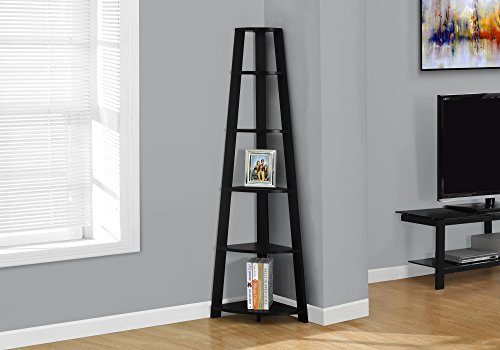 "Monarch Specialties , Corner Bookcase, Black, 72""H"