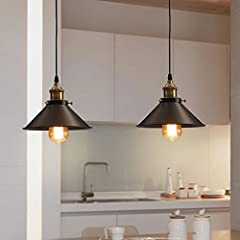 Retro Pendant Light Shade Vintage Industrial Ceiling Lighting LED Restaurant Loft Black Lamp Shade Kitchen Coffee-Shop Chandelier E27 Base #3
