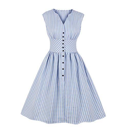Wellwits - Vestito da tè da donna, con scollo a V e bottoni, vintage, in stile anni '40-50 - Blu - 40-42