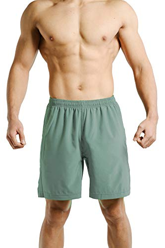 Tough Mode Apparel Mens Ultra Light Weight Athletic Workout Training Shorts WOD Side Pocket Green