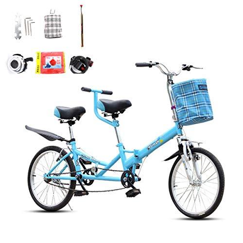 HBNW Tandem-Fahrrad-20Inches Reitpaare Unterhaltung Universal-Wayfarer Reiten V Brake Sightseeing Bike Mit Zubehör,Blau