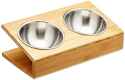 Cleo Heimtierbedarf Bambus Futternapf für Hunde und Katzen mit Edelstahleinsätzen (2 x 245ml)…