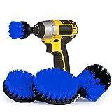 Houdao 4 piezas Cepillo Limpieza ElectricoDiferentes Tamaños de Multifunción Cepillo TaladroAzul para Cocina/Azulejos/Alfombra/Llantas/Motos