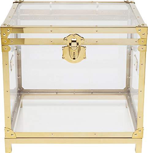 Kare Design Beistelltisch Trunk Storage Gala, quadratische Aufbewahrungsbox aus Glas und goldenem Edelstahl Rahmen, Nachttisch mit Aufbewahrungsmöglichkeit (H/B/T) 52x55x48