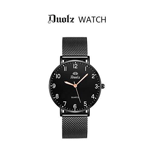 TWCAM Acero Cuero Pulsera Hombre- Reloj Ultrafino para Hombre, Cinturón para Mujer, Reloj Impermeable De Cuarzo, Reloj para Pareja Luminosa, Luminoso Digital Negro, Red para Mujer