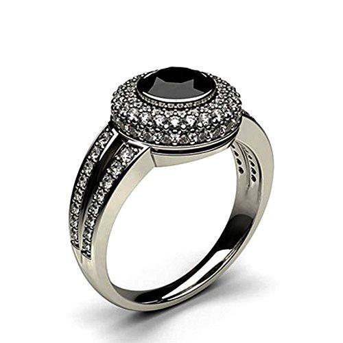 JewelsForum 1.62 Quilates Diamante Negro Anillo De Compromiso Clásico Con Solitario Diamante De Oro Blanco De 14 K Para Mujer