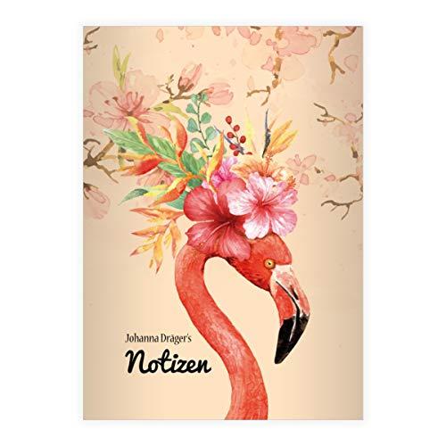 Chique Flamingo DIN A4 schoolschrift, rekenboekje met weelderige kischbloesems, verschillende liniëringen en kleuren (schrift 16 vellen/32 pagina's) notitieboekje, kladje voor school, universiteit, kantoor . 1 DINA4 Heft- Lin 27 oranje - met uw naam