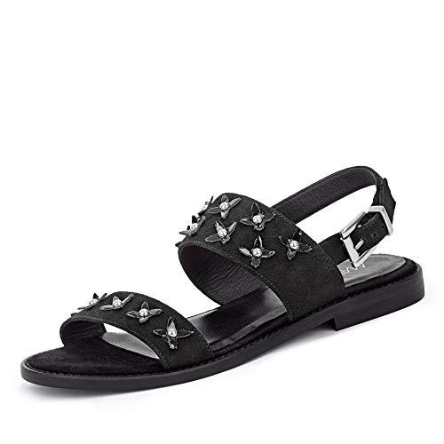 Marc Cain LB SG 06 L67 900 Damen modische Sandale aus Veloursleder Lederfutter, Groesse 36, schwarz