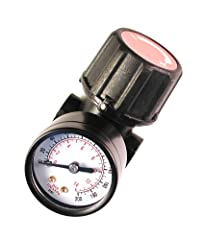 Air regulator for precisely regulating and maintaining constant air pressure Accurate downstream air pressure regulation between 1 and 160-psi High impact composite regulator knob and steel protected gauge 60-Scfm at 100-PSI with 1/4-inch NPT ports C...