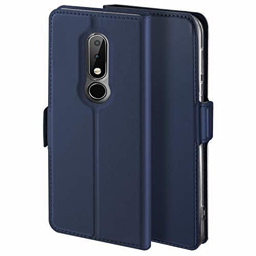 YATWIN Handyhülle für Nokia 6.1 Plus Hülle Leder Premium Tasche Hülle für Nokia 6.1 Plus, Schutzhüllen aus Klappetui mit Kreditkartenhaltern, Ständer, Magnetverschluss, Blau