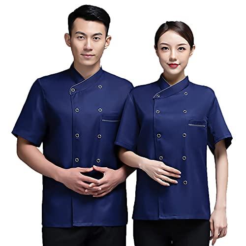 QQYXCA Chef Uniforme Manga Corta Chaqueta de Chef para Hombre Mujere Unisexo,Chef Chaqueta Personalizada Cocina con Malla Transpirable Vestir Ropa de Trabajo Uniforme,Azul,XL