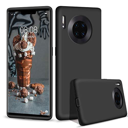 Huawei Mate 30 Pro Hülle, abitku Silikon Dünn Licht Glatt Stoßfest Schutz Protective Handy Hülle für Huawei Mate 30 Pro 6.53 Zoll, Schwarz