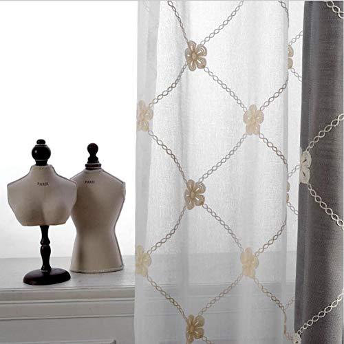Lin Broderie Voilage Blanc Rideaux Transparent Rideau Occultant Isolant Thermique Salon/Chambre/Balcon,White,W140xL270cm*1piece
