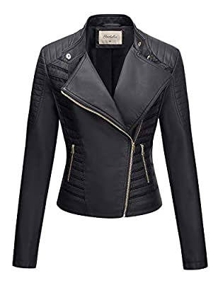 Geschallino Women's PU Leather Jacket, Biker Jacket with Zip Pockets, Vintage Short Jack for Fall Spring, Black, L by