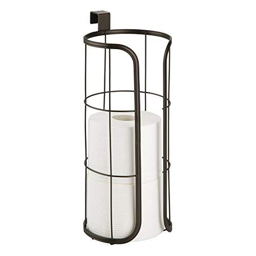 mDesign Porta rollos de repuesto para colocar sobre la cisterna – Soporte para papel higiénico redondo para 3 rollos – Portarrollos para baño de metal sin taladro – color bronce
