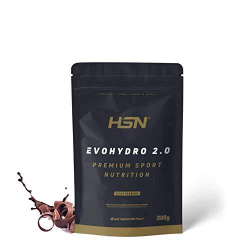 Proteína Hidrolizada de Suero de HSN Evohydro 2.0 | Hydro Whey | A partir de Whey Protein Isolate | Rica en BCAAs y Glutamina | Proteína Vegetariana, Sin Gluten, Sin Lactosa, Sabor Chocolate, 500g ✅