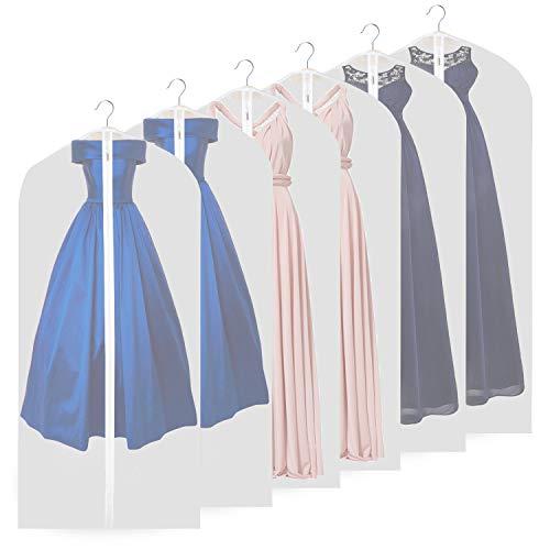 Garment Bags, Breathable 63 inch(6 PCS) Long Wedding Gowns Dress Bags Coat Clothes Covers Bags Moth Resistant Hanging Zipped Garment Bags for Long Dress Dance Costumes Suits Coat (6 pcs 60cm * 160cm)