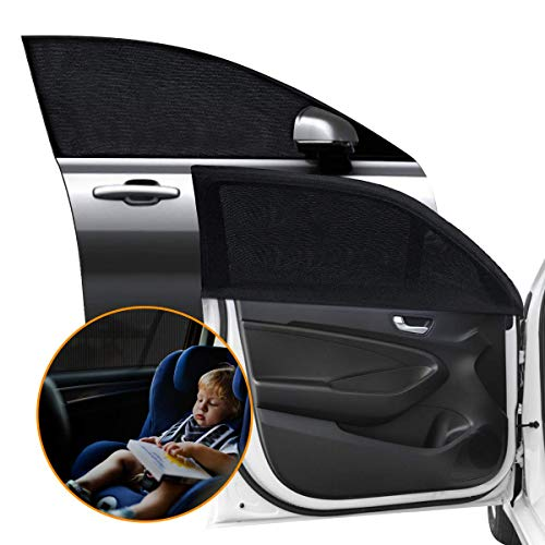 Car Side Window Sun Shade - Breathable Sun Shades Mesh Shield, Protects Toddler/Kids/Pets from Sun Burn, Keeps Cooler Screen for Baby Sleeping, Fits All (99%) Cars Most SUV's (2 Pack)