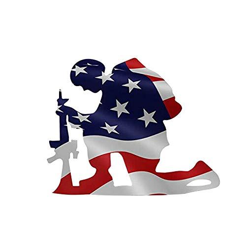 AGIZIO Kneeling Soldier Weathered Flag Art Decor, Garden Hollowed Silhouette Decoration, US Military Kneeling Soldier Flag Vertical Outdoor Garden Yard Decoration (A)
