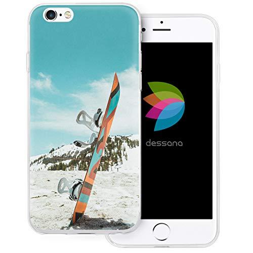 dessana Winter Sport transparente Schutzhülle Handy Case Cover Tasche für Apple iPhone 6/6S Snowboard