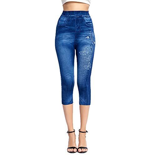 Shujin Damen Capri Jeggings 3/4 Jeansleggings Denim High Waist Stretch Skinny Hose Capri TV Leggings Röhrenjeans Bleistifthose Push Up Slim Fit