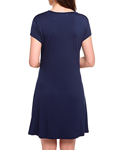 Sherosa Womens Summer Knit Solid O Neck Loose Swing Casual Dress (M, Navy Blue)