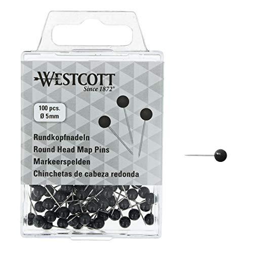 WESTCOTT Rundkopfnadeln, 100 Stück, 5 mm Durchmesser, 16 mm lang, schwarz, E-10502 00