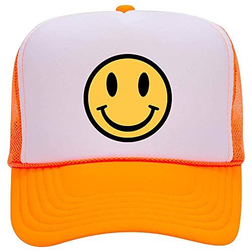 iZZYZX Yellow Smiley Face Suede Neon 5 Panel Foam Trucker Hat - White Orange