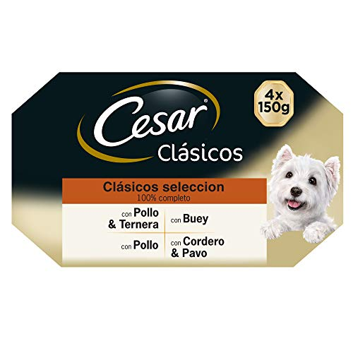 Cesar Comida Húmeda para Perros, Selección de Clásicos en Paté, Multipack (Pack de 6 x 4 tarrinas x 150g) ⭐
