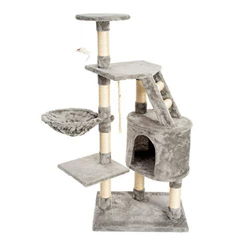 JAMAXX PCT4002 - Albero tiragraffi per gatti, 120 cm, in morbido peluche, con cuccia e topolino da gioco, colore: grigio chiaro