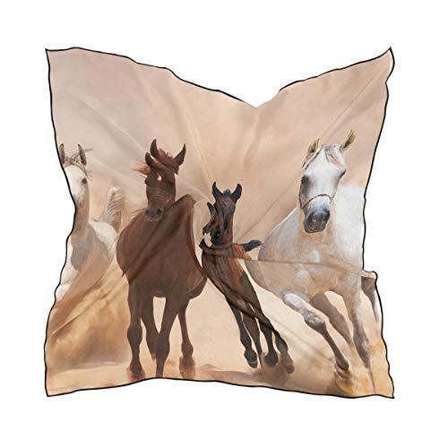 FANTAZIO Bufanda correr con diseño de caballo ligero y pañuelo para la cabeza para niñas en forma cuadrada