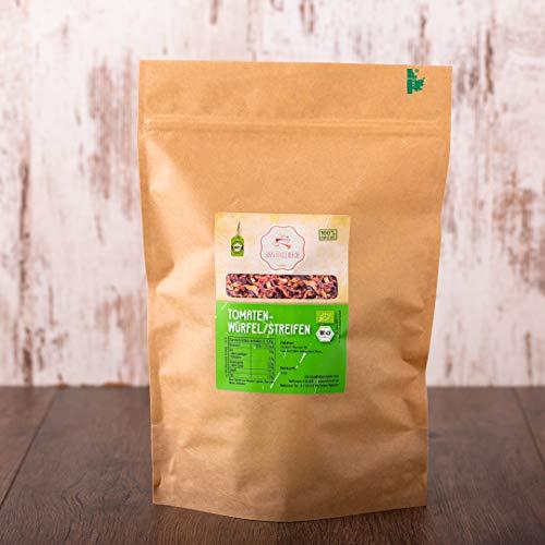 süssundclever.de® Tomatenstreifen Bio   1 kg   Premium Qualität: hochwertiges Naturprodukt   plastikfrei abgepackt in ökologisch-nachhaltiger Bio-Verpackung   Tomaten getrocknet