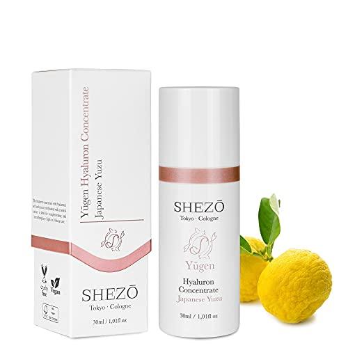 SHEZO Hyaluronkonzentrat hochdosiert 30ml Anti Aging Serum - Japanische Superfrucht Yuzu - Hyaluron Serum - Vitamin C – Natürliche Feuchtigkeitspflege für Hals & Dekolleté – Made in Germany