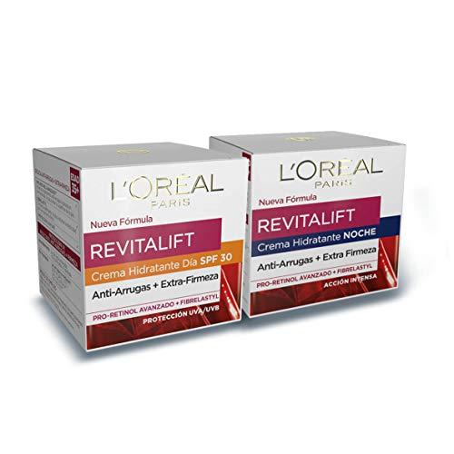L'Oréal Paris Revitalift Set de Crema de Día Anti-Edad con Protección Solar SPF 30 y Crema de Noche Hidratante, Antiarrugas y Extra Firmeza, con Pro-Retinol, 50 ml cada una